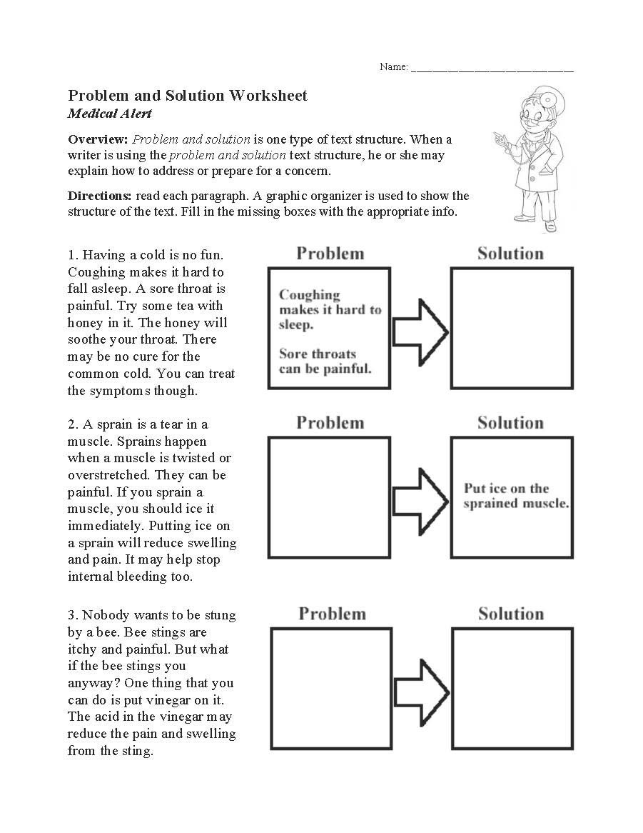 problem and solution worksheet
