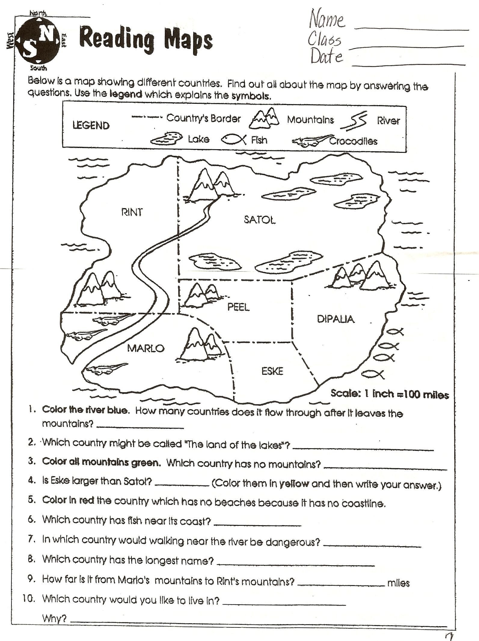 Problem and solution Reading Worksheets Reading Worksheets Grade 6th social Stu S Grid Map 3rd