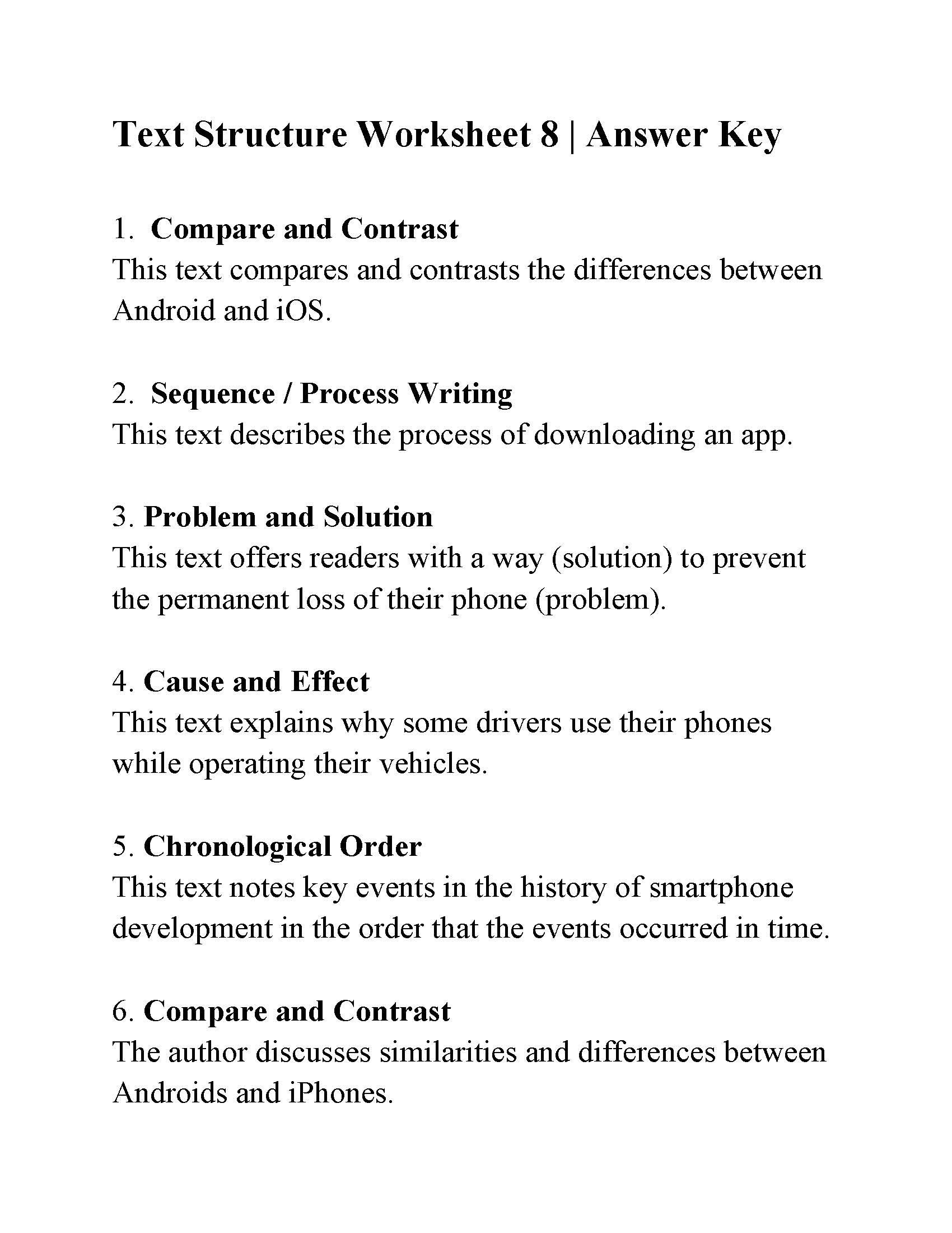 Problem and solution Reading Worksheets Text Structure Worksheet 8