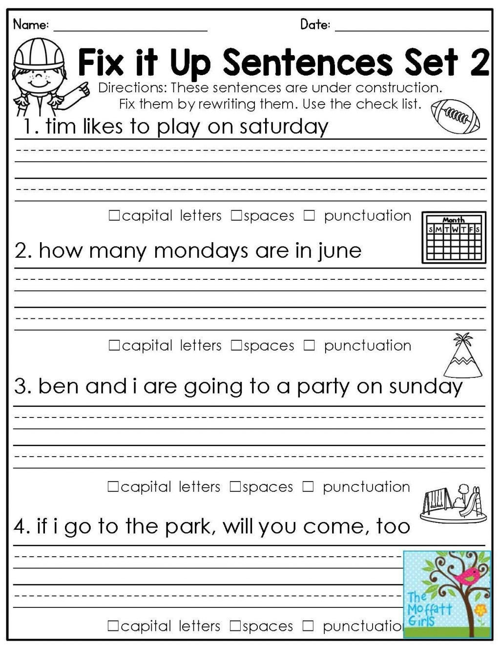 Proofreading Worksheets 5th Grade 4 Free Grammar Worksheets Third Grade 3 Capitalization