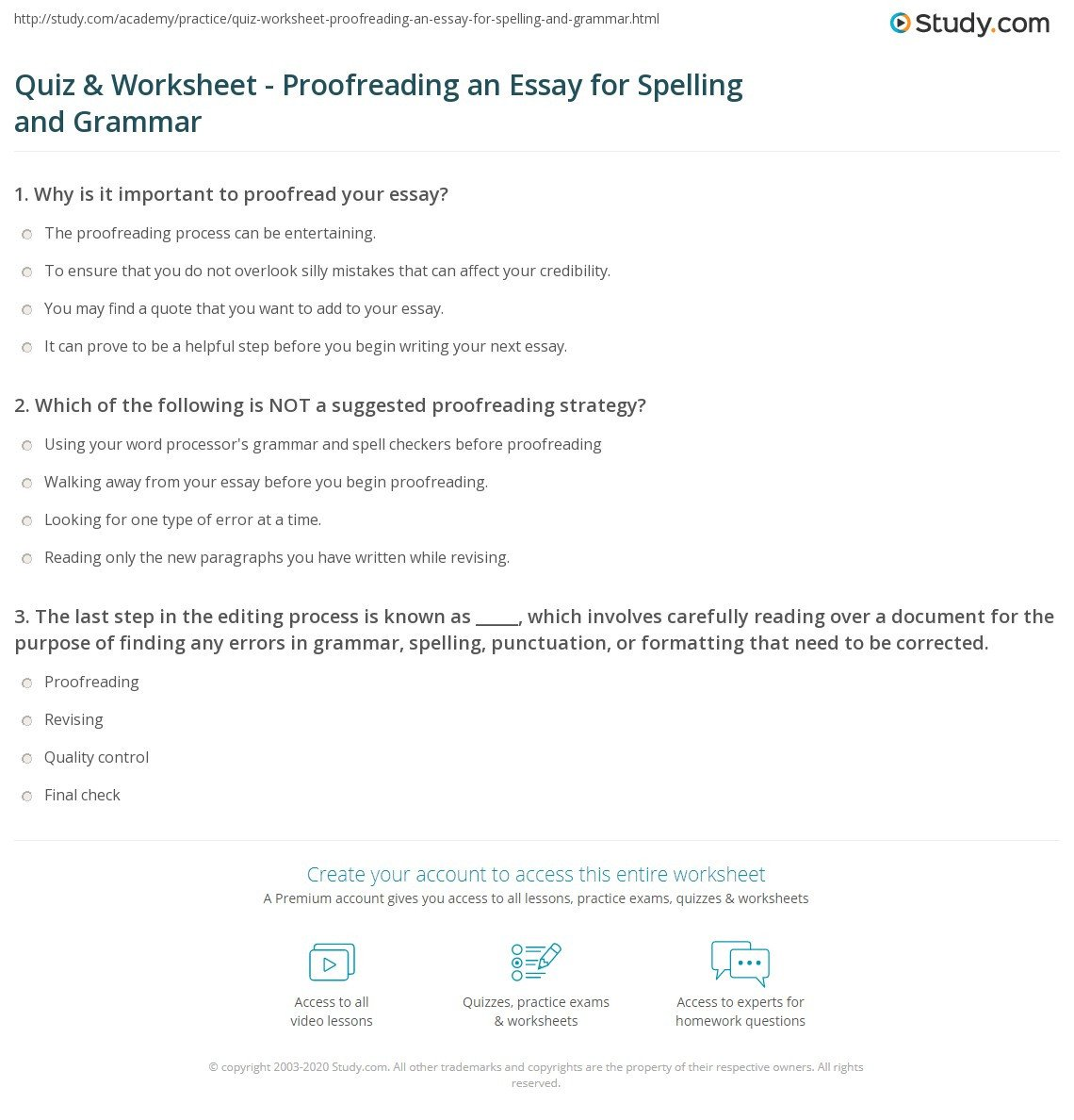 Proofreading Worksheets High School Essay Editing Worksheets —