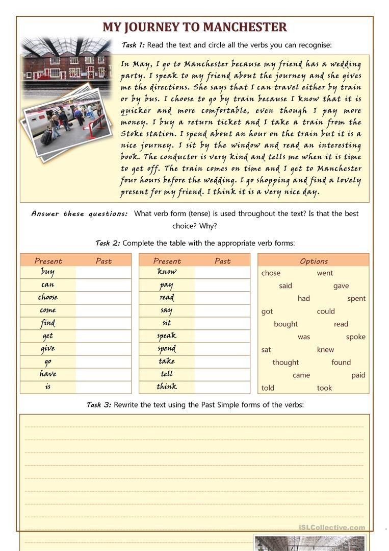 Proofreading Worksheets High School My Journey to Manchester Using Irregular Verbs
