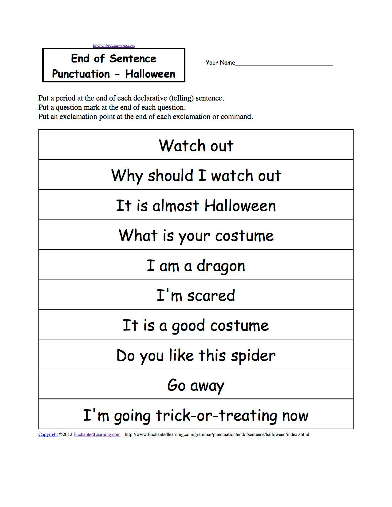 Punctuation Worksheets for Kindergarten 3 Free Grammar Worksheets First Grade 1 Punctuation