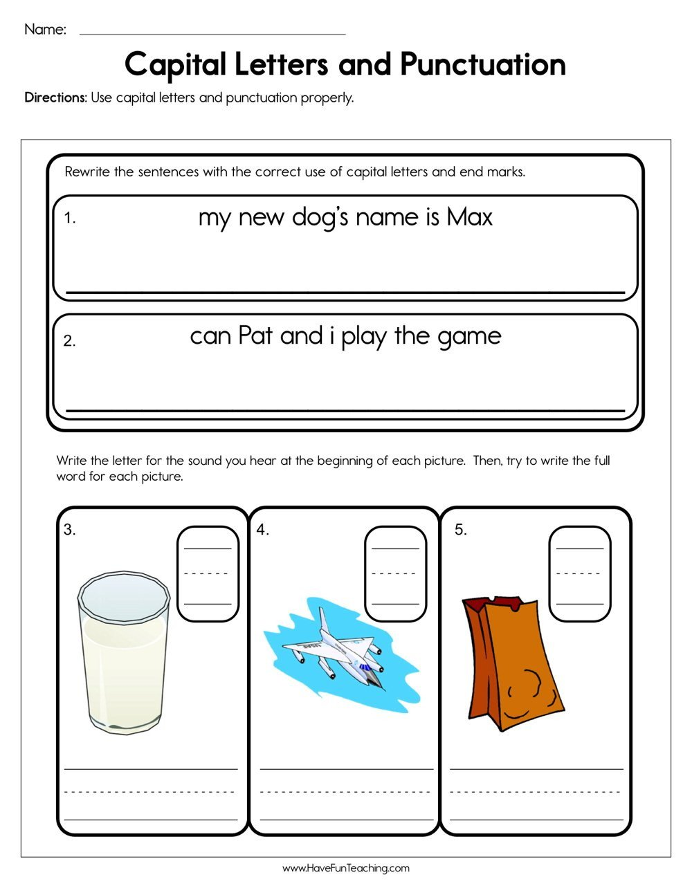 Punctuation Worksheets for Kindergarten Capital Letters and Punctuation Worksheet
