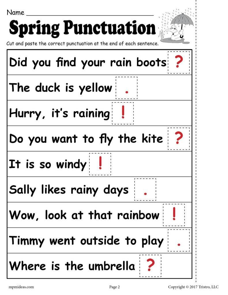 Punctuation Worksheets for Kindergarten Printable Spring Punctuation Worksheet