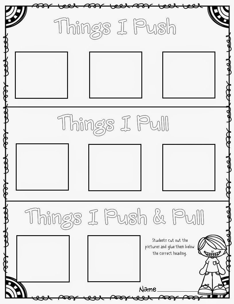 Push and Pull Worksheets force and Motion Pushes and Pulls