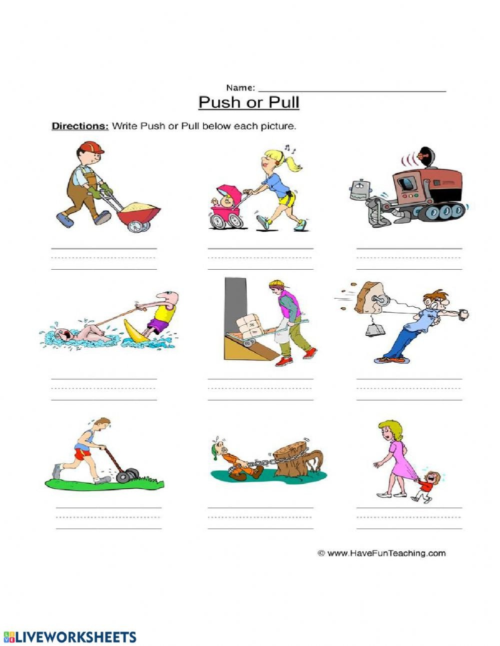 Push and Pull Worksheets forces Push and Pull Interactive Worksheet