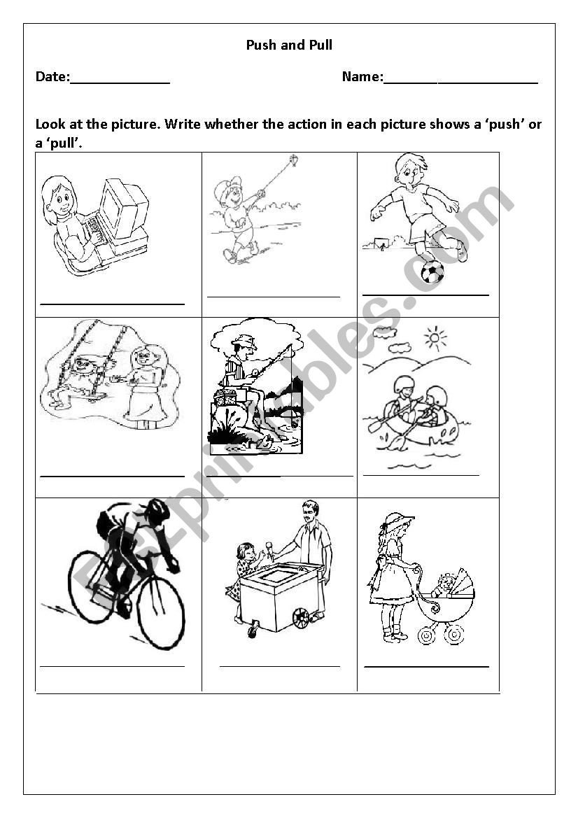 Push and Pull Worksheets Identifying Push Vs Pull Esl Worksheet by Payalmehrotra