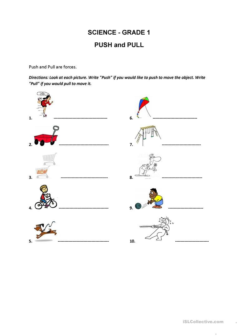 Push and Pull Worksheets Push and Pull English Esl Worksheets for Distance Learning