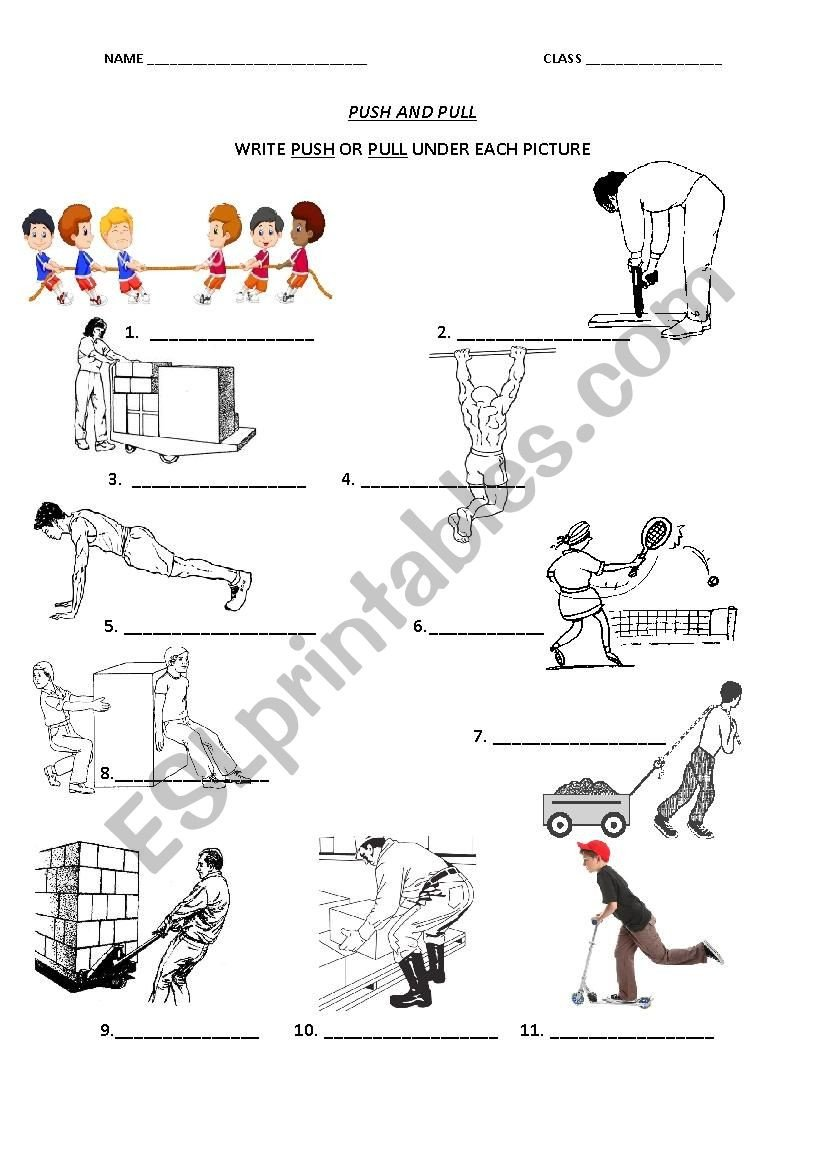 Push and Pull Worksheets Push and Pull Esl Worksheet by Fin