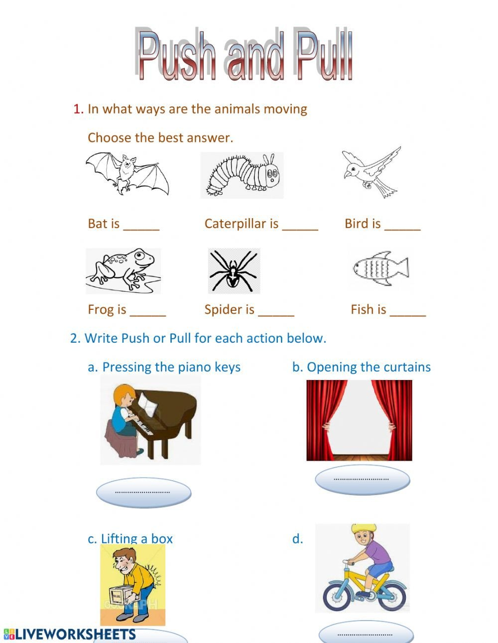 Push and Pull Worksheets Push and Pull Interactive Worksheet