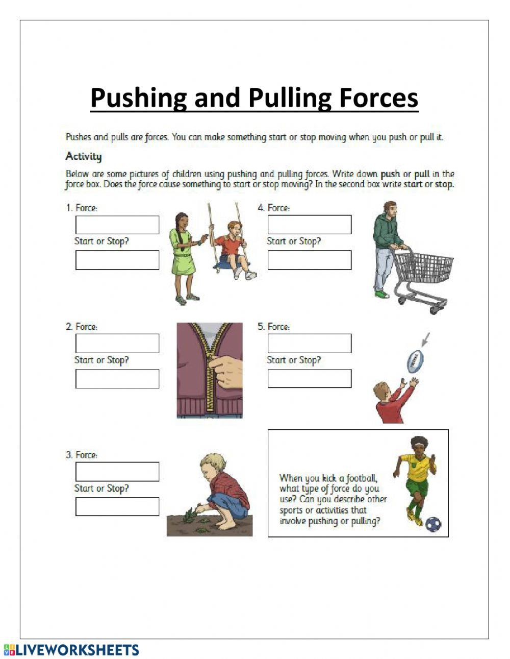 Push and Pull Worksheets Pushes and Pulls Interactive Worksheet