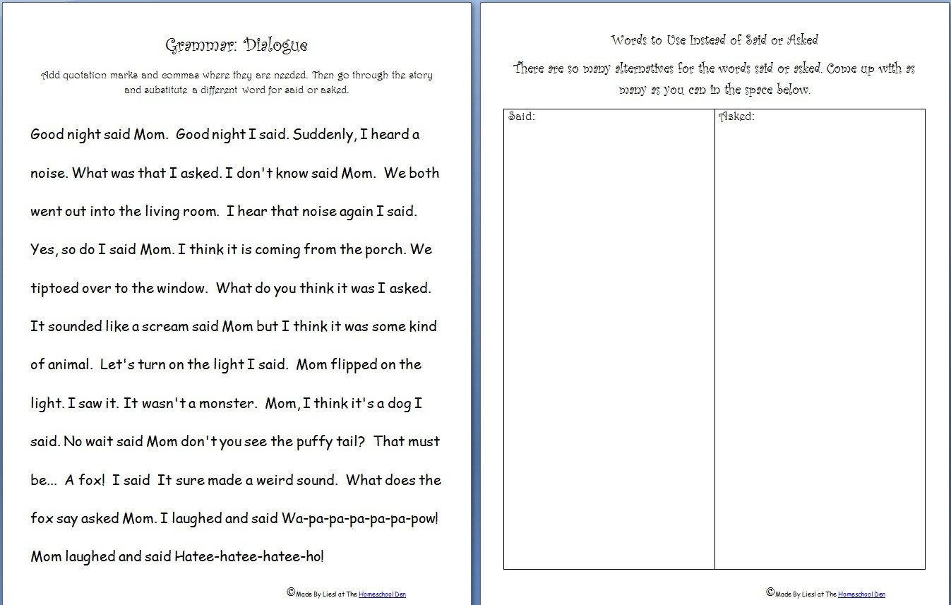 Quotation Worksheets 4th Grade Language Arts Grammar Worksheets Archives Practice
