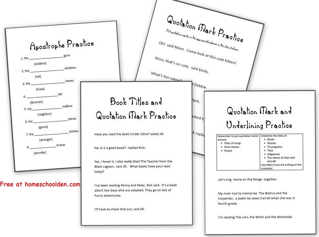 Quotation Worksheets 4th Grade Worksheet Single Quotation Marks