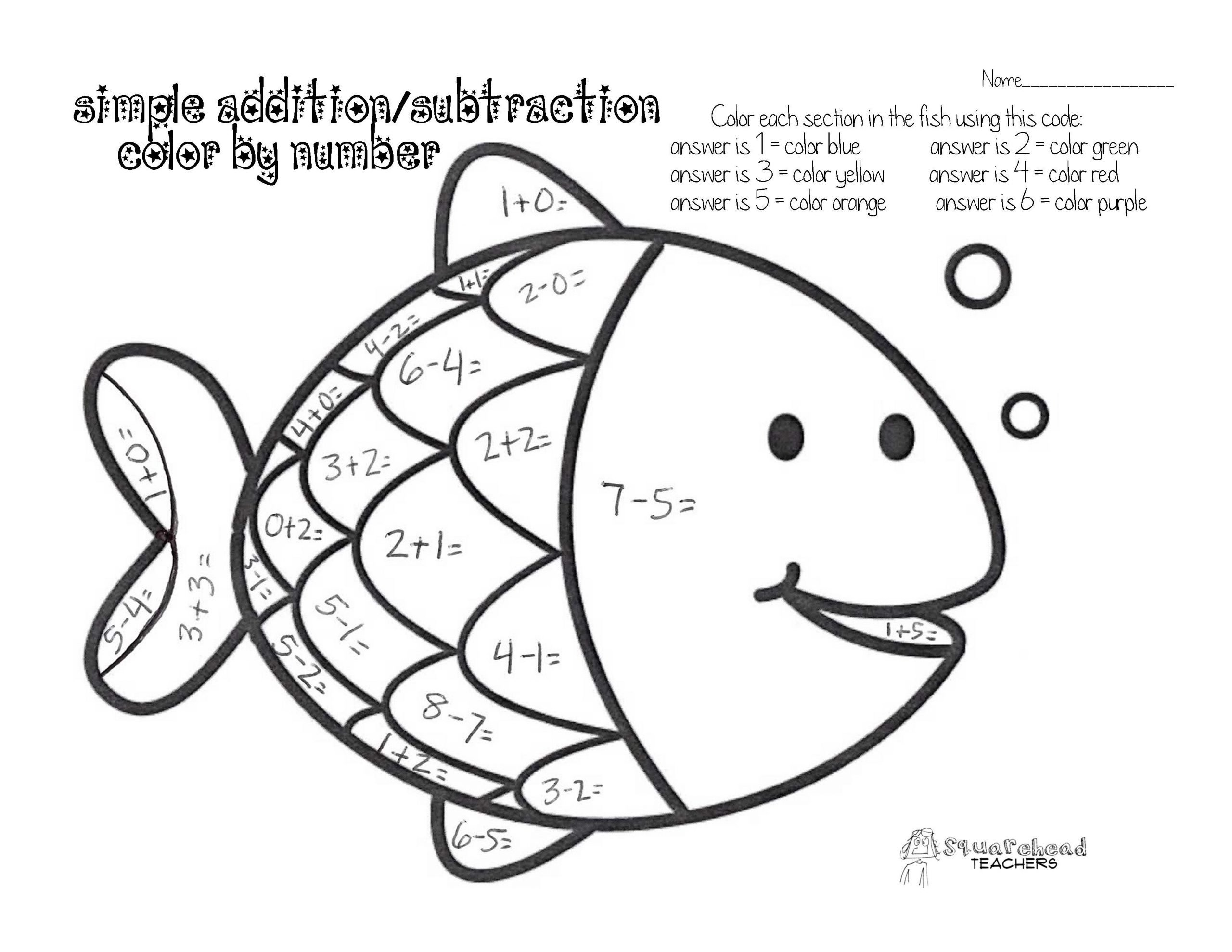 Rainbow Fish Printable Worksheets Color by Number with An Addition Subtraction Twist