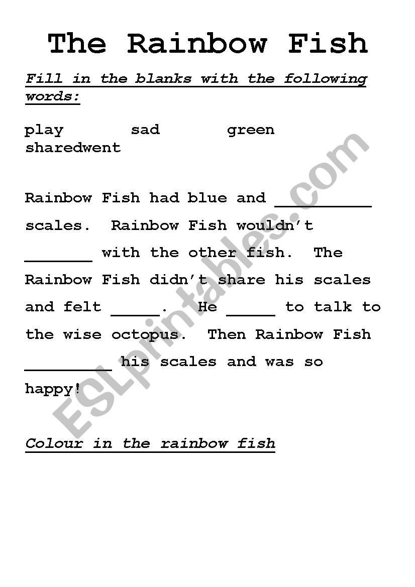 Rainbow Fish Printable Worksheets Rainbow Fish Cloze Activity Esl Worksheet by Dlj3337