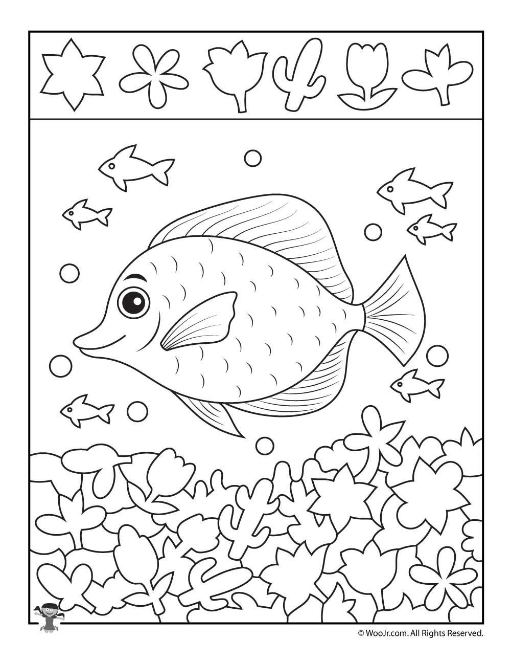 Rainbow Fish Printable Worksheets School Of Fish Hidden Picture Printable