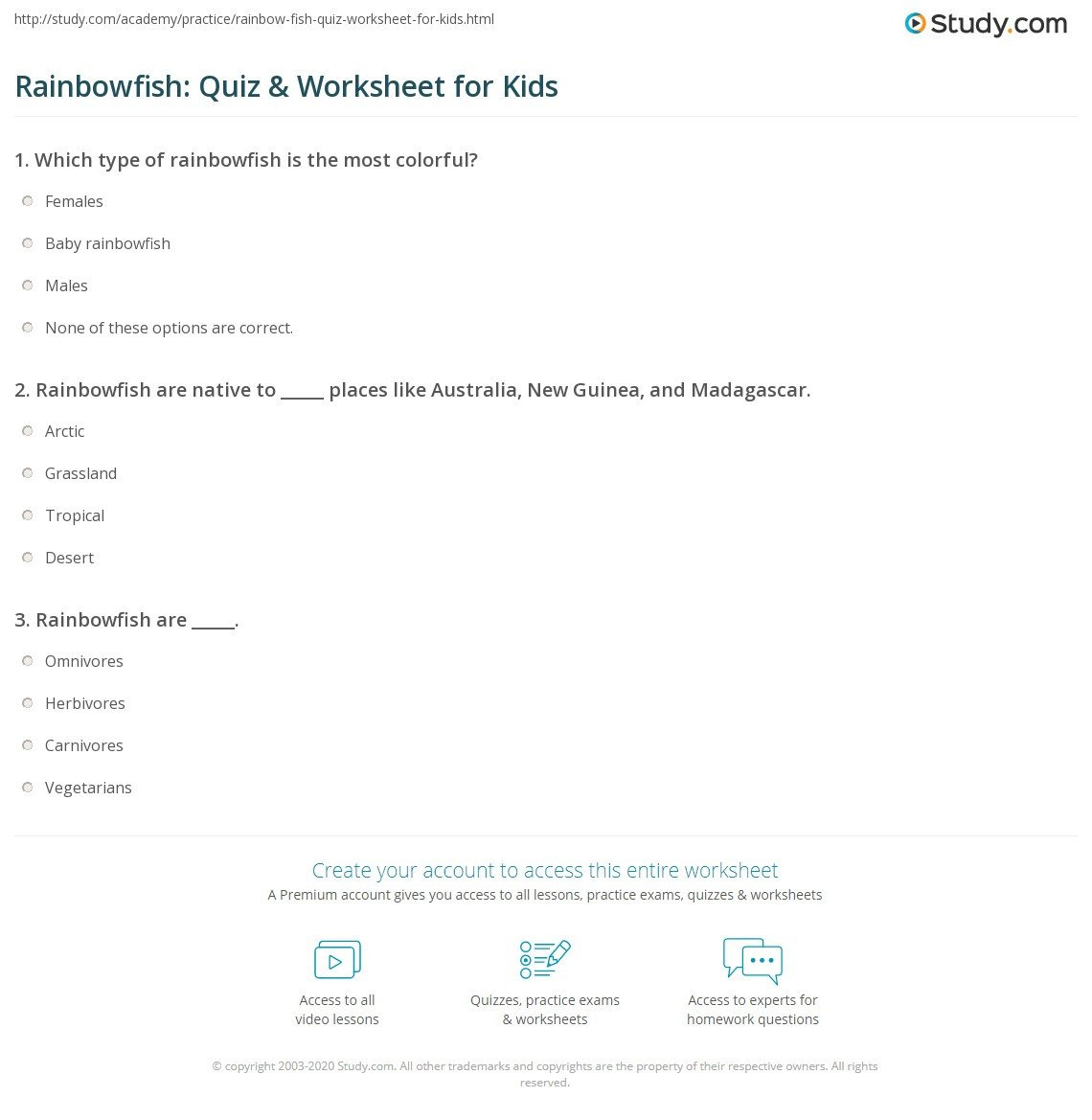 Rainbow Fish Worksheets Rainbowfish Quiz & Worksheet for Kids