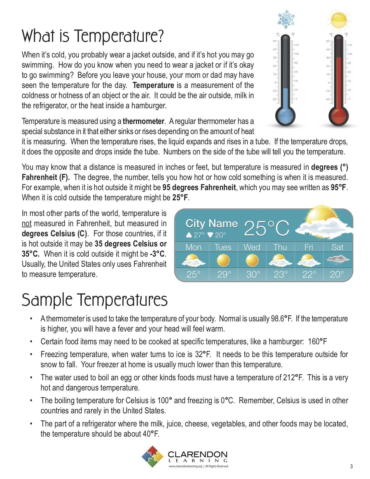 Reading A thermometer Worksheet Temperature