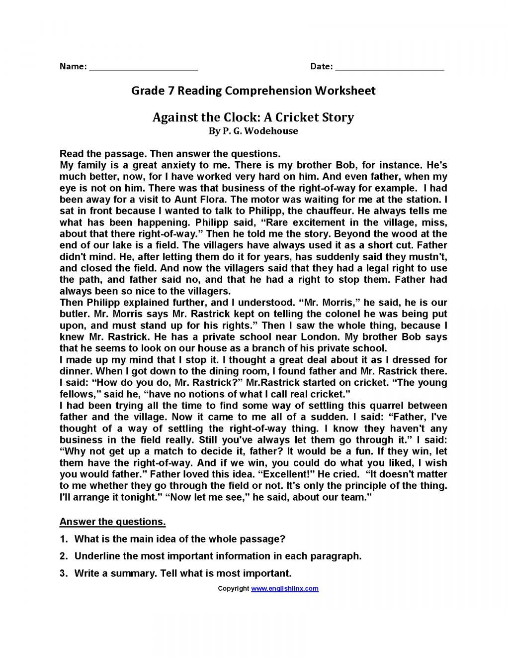 Reading Comprehension Worksheets 7th Grade 10 Reading Prehension Grade 7 Worksheet