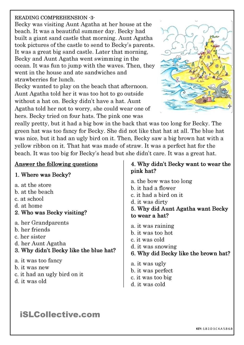 Reading Comprehension Worksheets 7th Grade Reading Prehension for Beginner and Elementary Students