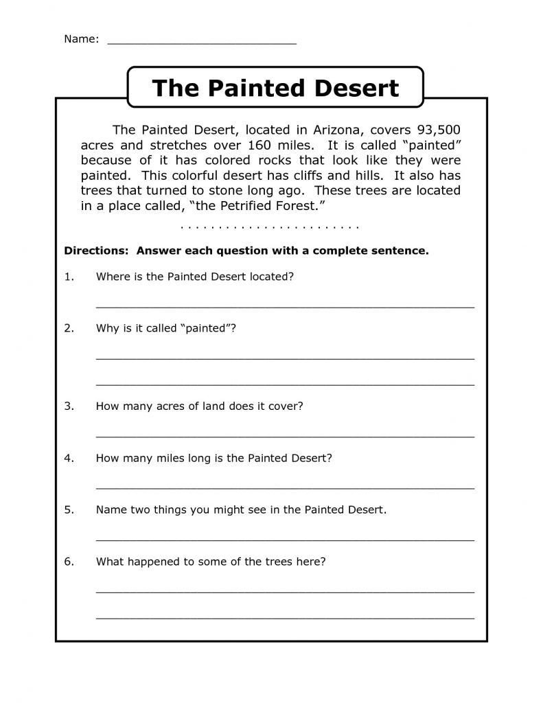 Reading Comprehension Worksheets 7th Grade Worksheet Worksheet Ideas Splendi Free Third Grade Reading