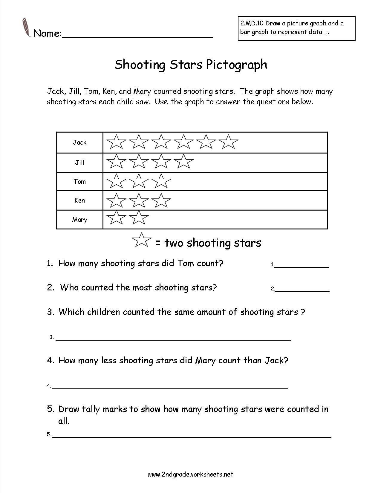 Reading Graphs Worksheets Middle School Shooting Stars Pictograph Worksheet