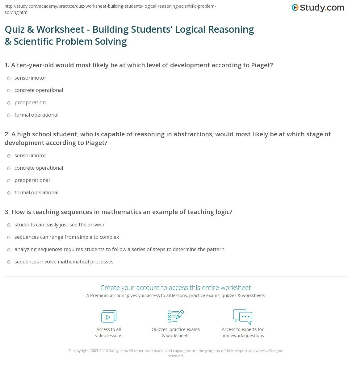 Reasoning Worksheets for Grade 1 Quiz Worksheet Building Students Logical Reasoning