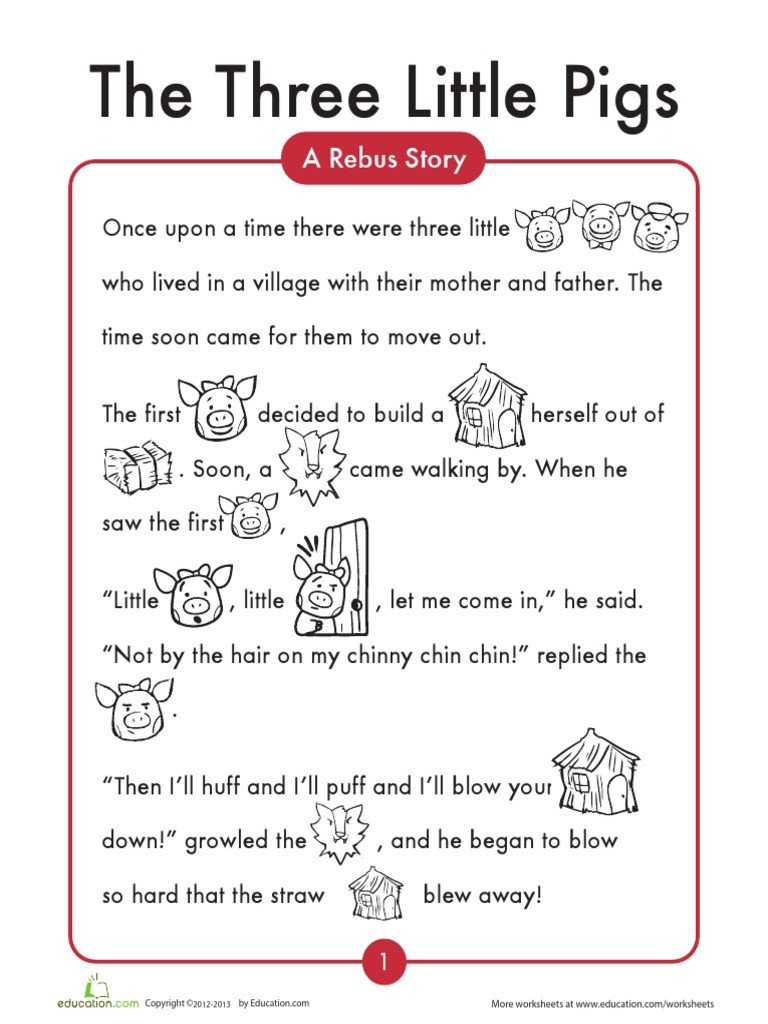 Rebus Story Worksheets 3 Little Pigs Pdf