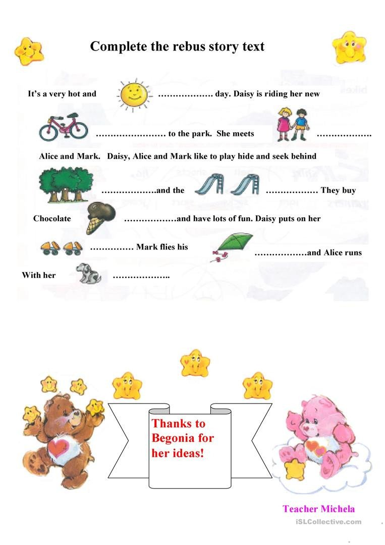 Rebus Story Worksheets Rebus Story Text English Esl Worksheets for Distance