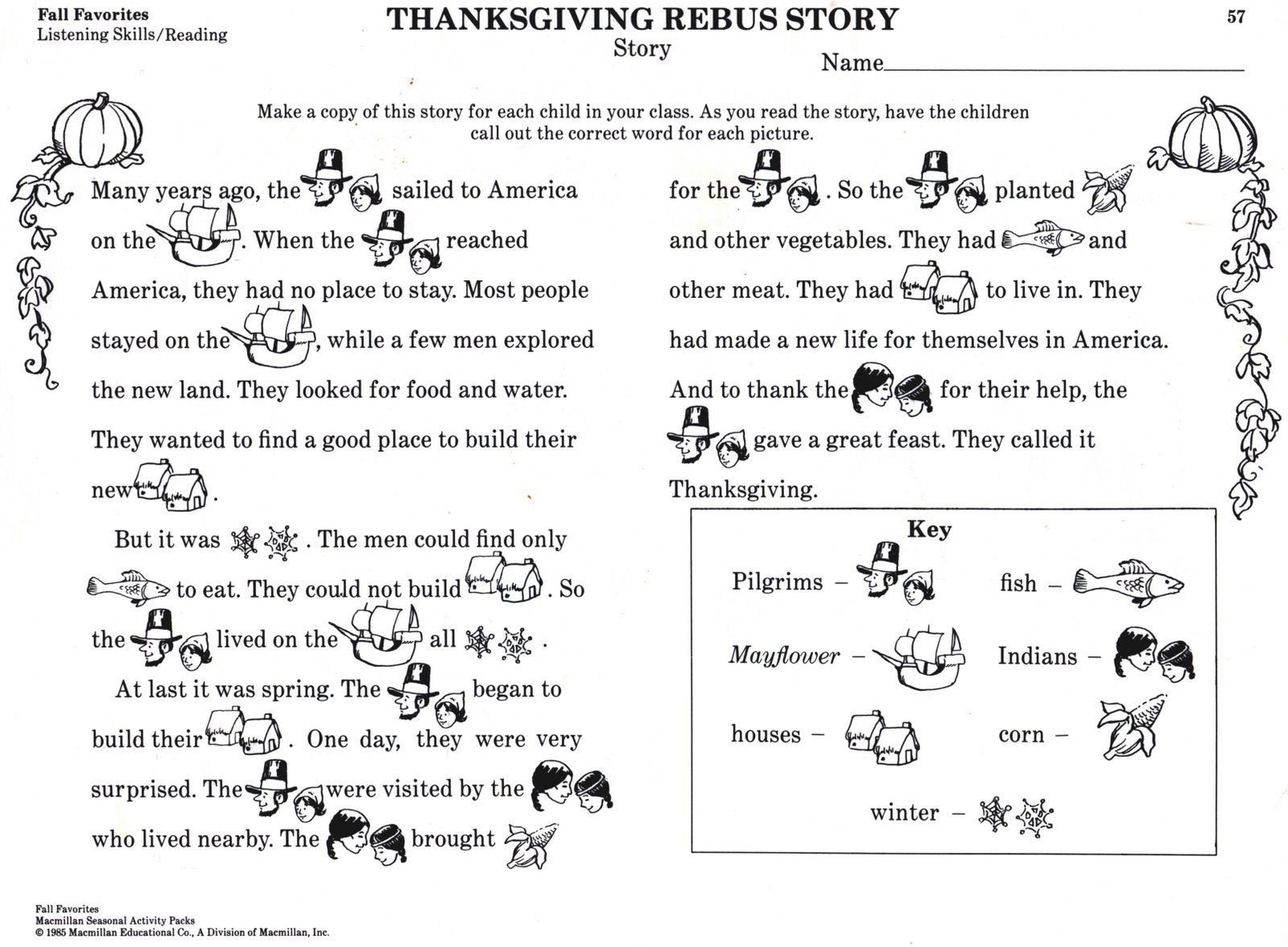 Rebus Story Worksheets Thanksgiving Activities for Kids