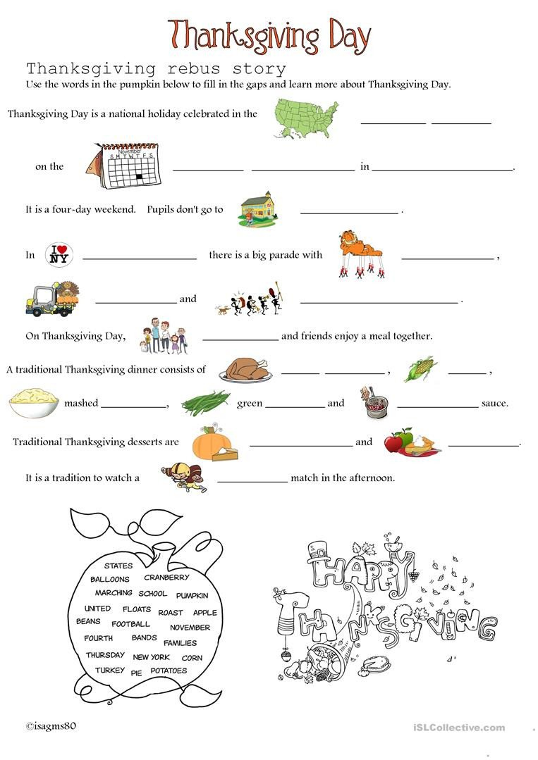 Rebus Story Worksheets Thanksgiving Day English Esl Worksheets for Distance