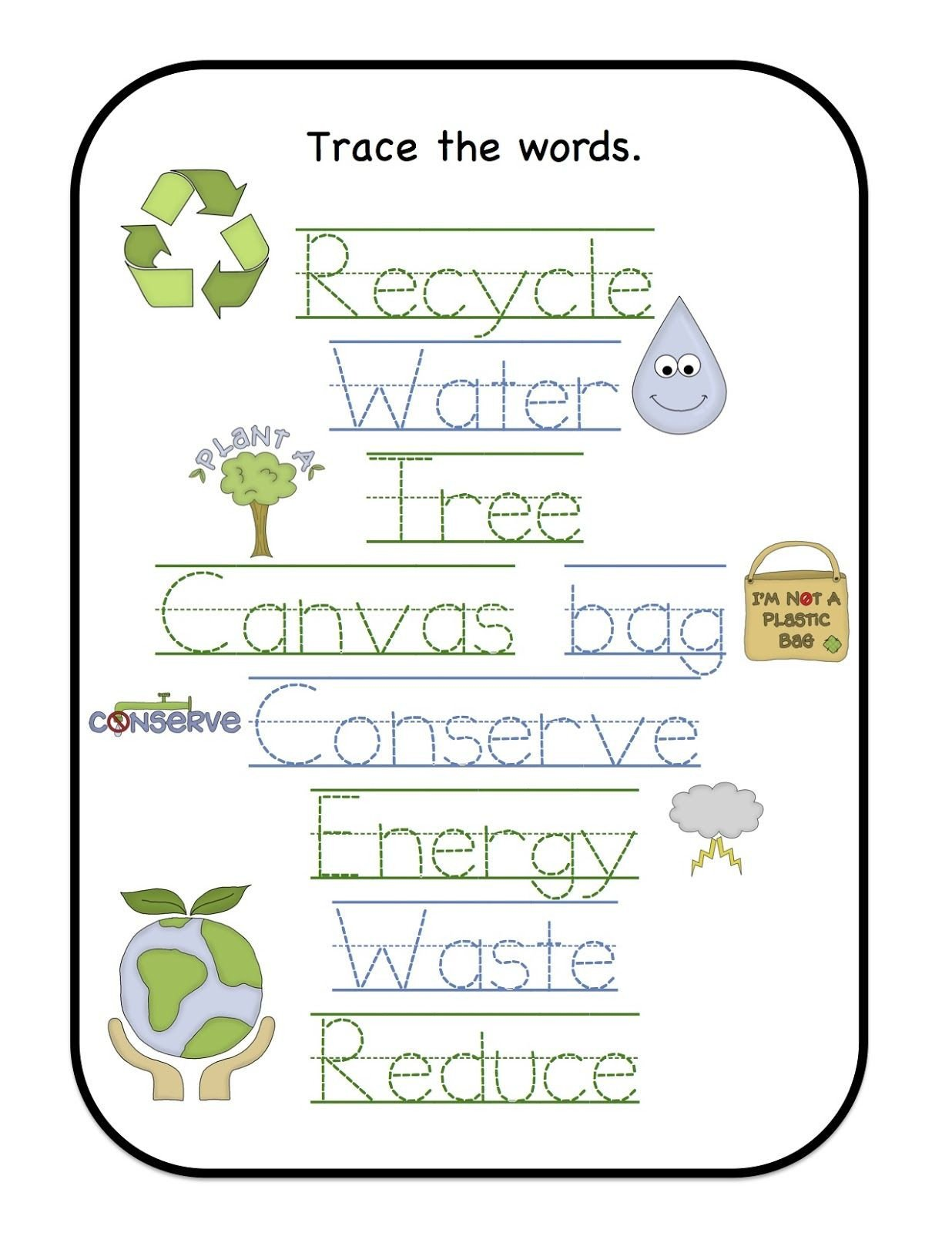 Recycle Worksheets for Kindergarten Preschool Printables