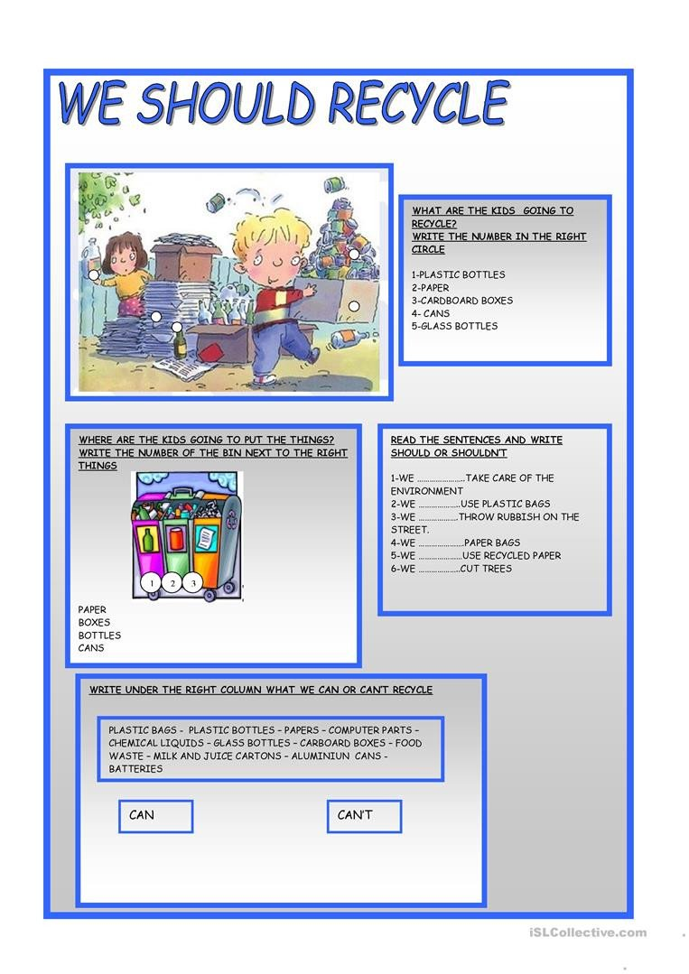 Recycle Worksheets for Kindergarten Recycle Worksheet