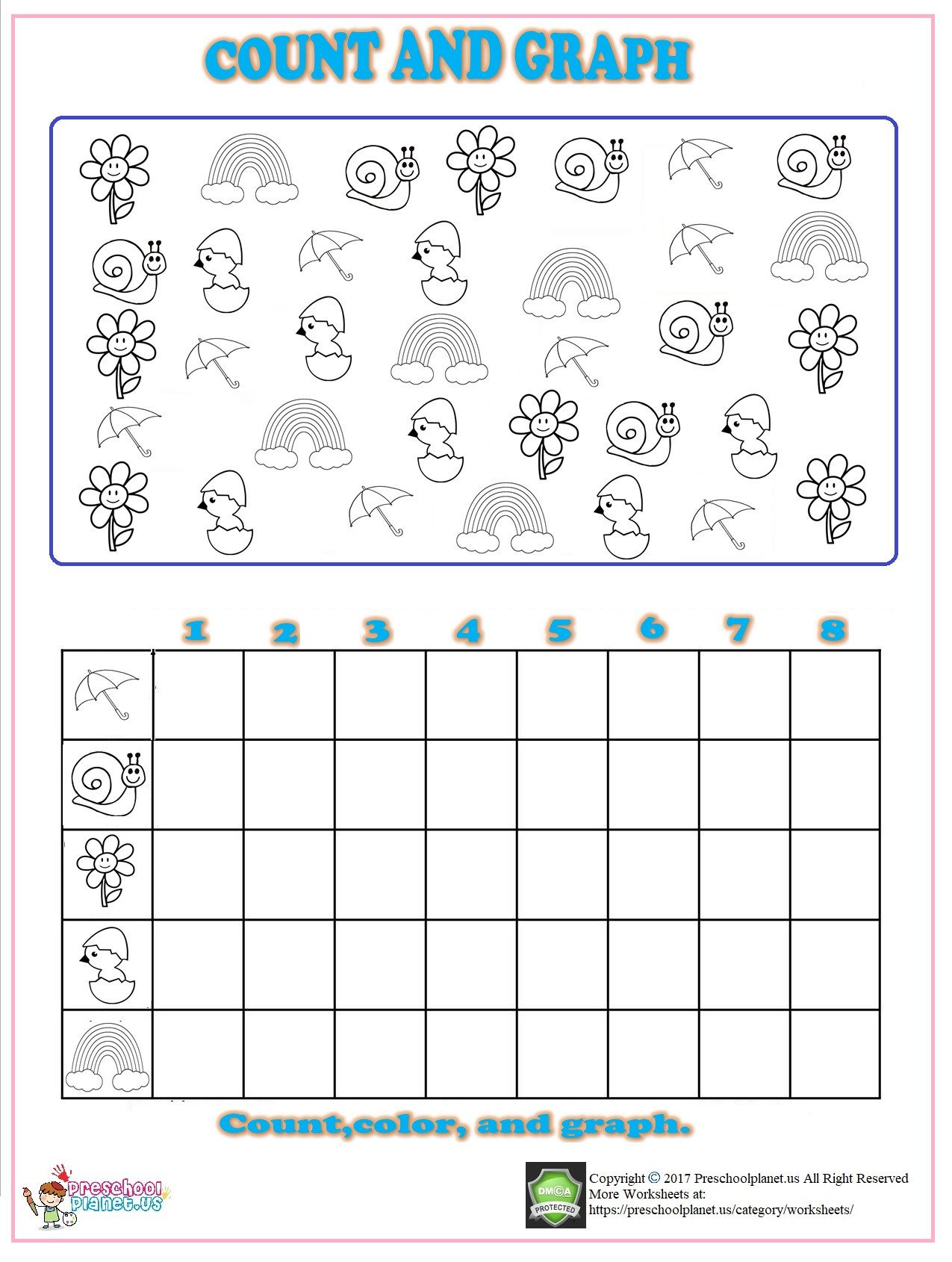 Recycle Worksheets for Kindergarten Spring Count Graph Worksheet for Kindergarten – Preschoolplanet
