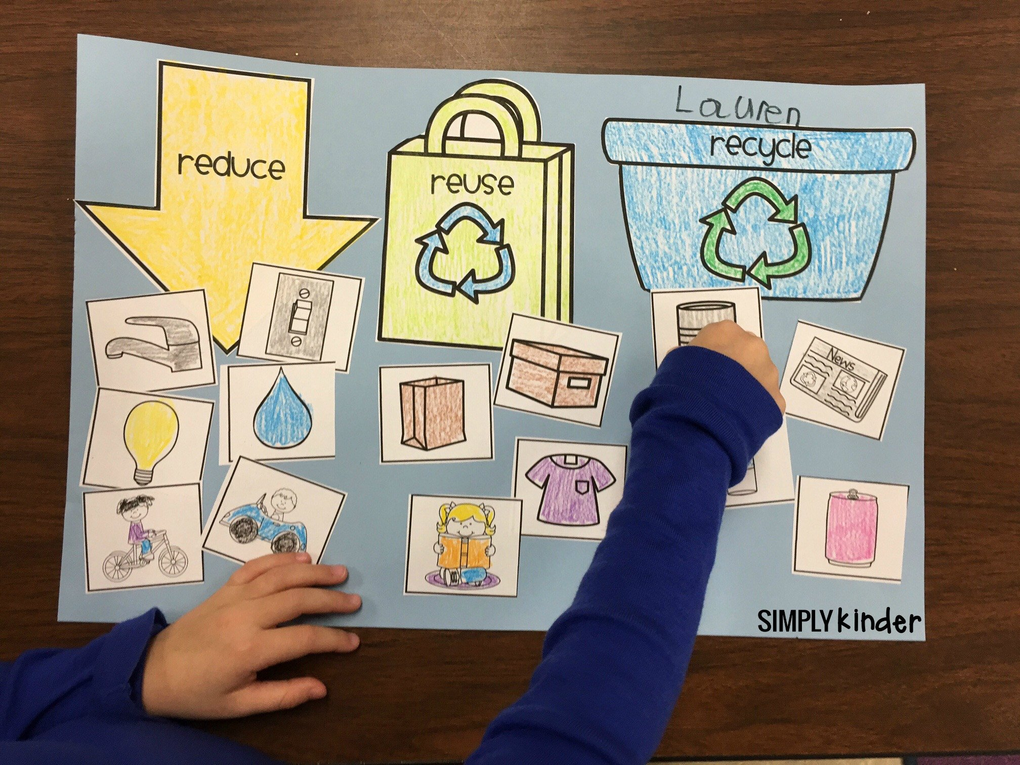 Recycle Worksheets for Preschoolers Free Recycling sort Simply Kinder