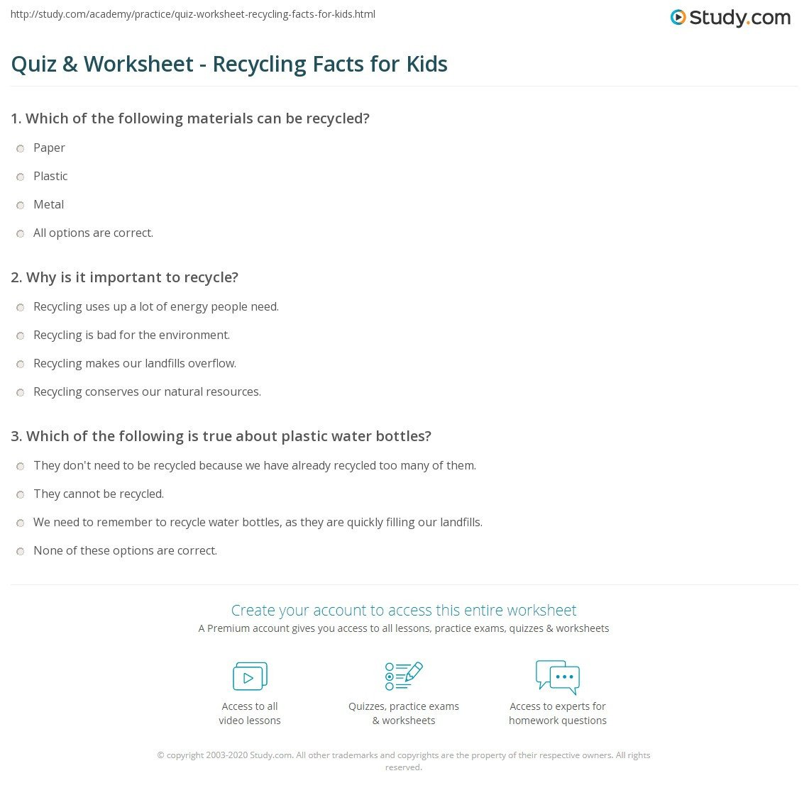 quiz worksheet recycling facts for kids