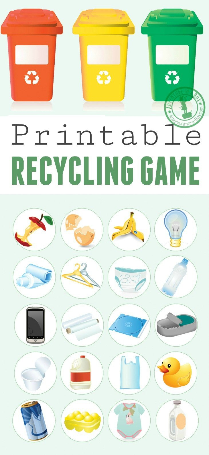 Recycling Worksheets for Preschoolers Recycling sorting Game