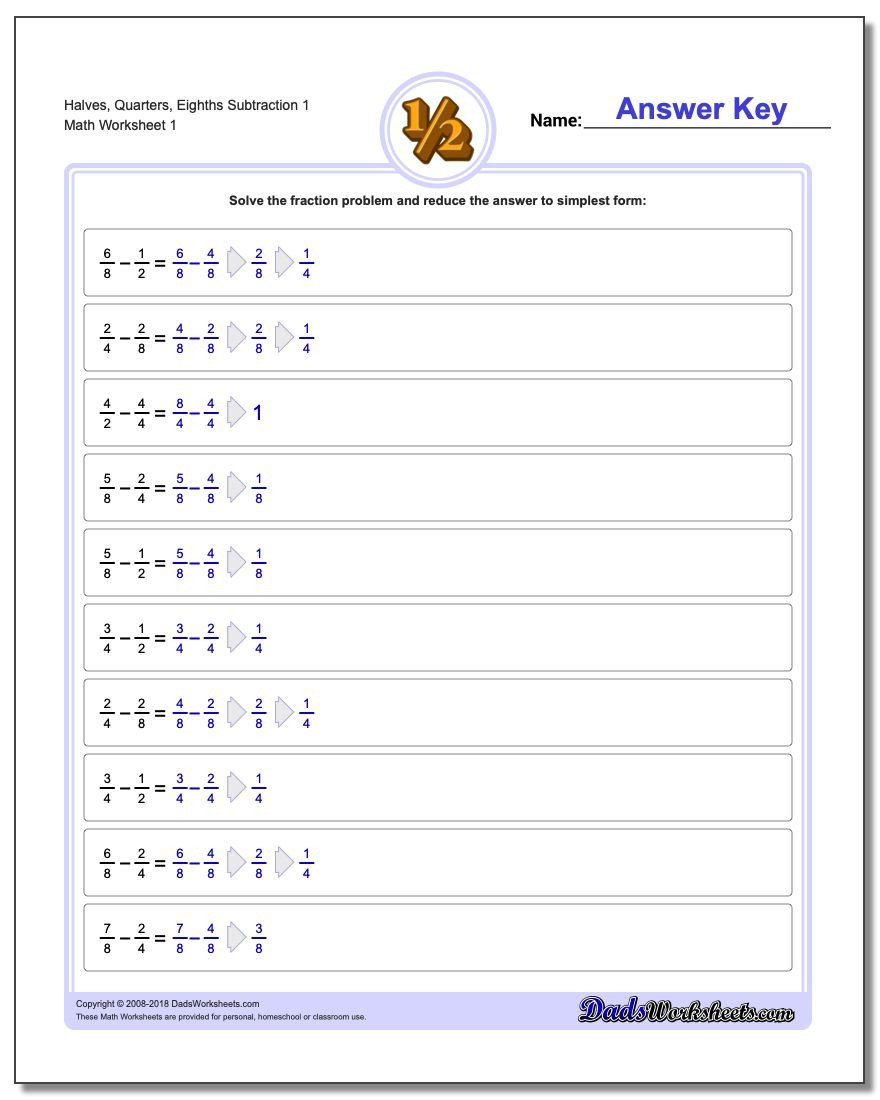 Regrouping Fractions Worksheet Fraction Subtraction
