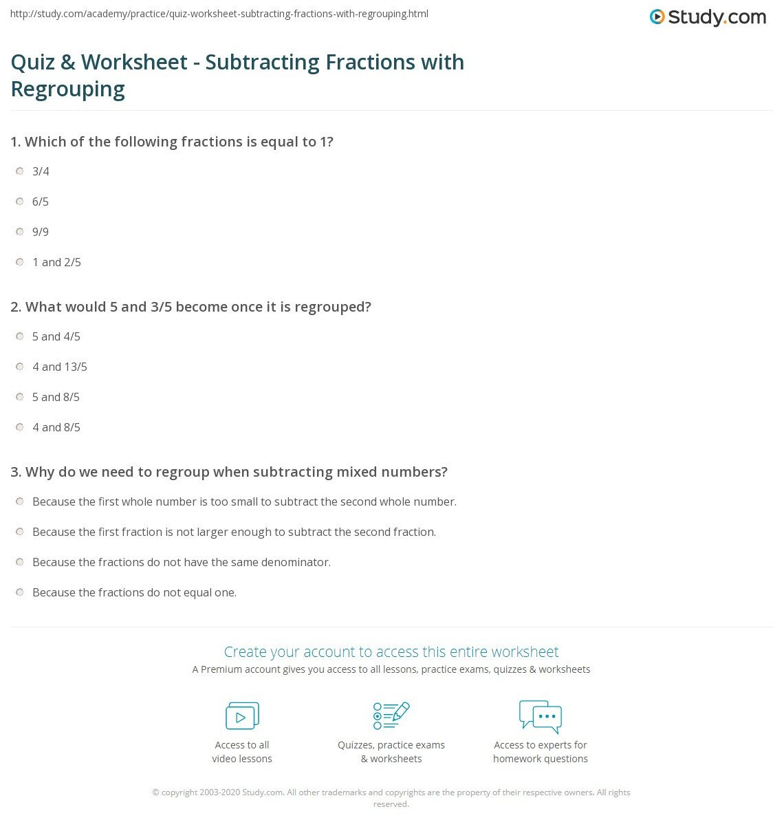 Regrouping Fractions Worksheet Quiz & Worksheet Subtracting Fractions with Regrouping