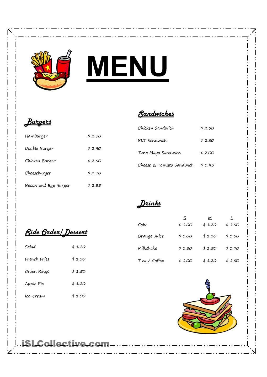 Restaurant Math Worksheets ordering In A Fast Fast Restaurant