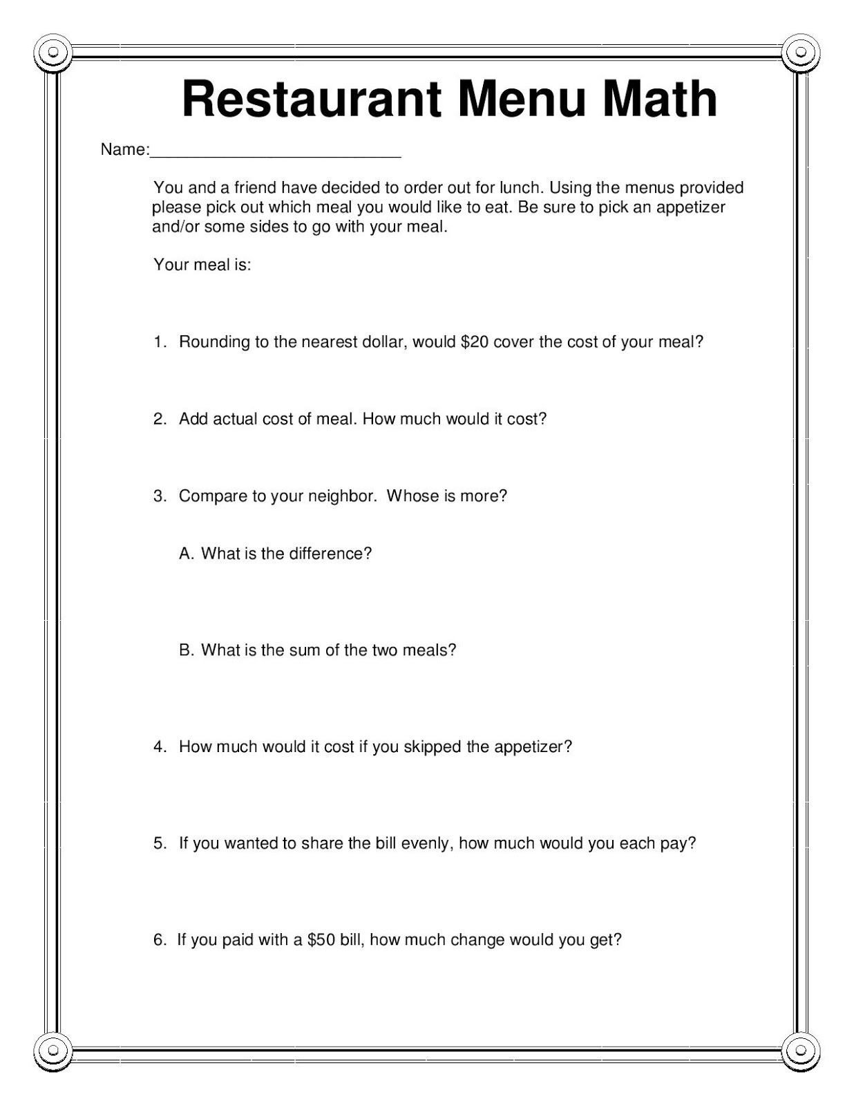 Restaurant Math Worksheets Pin by Bethany Hunter On Things for My Classroom