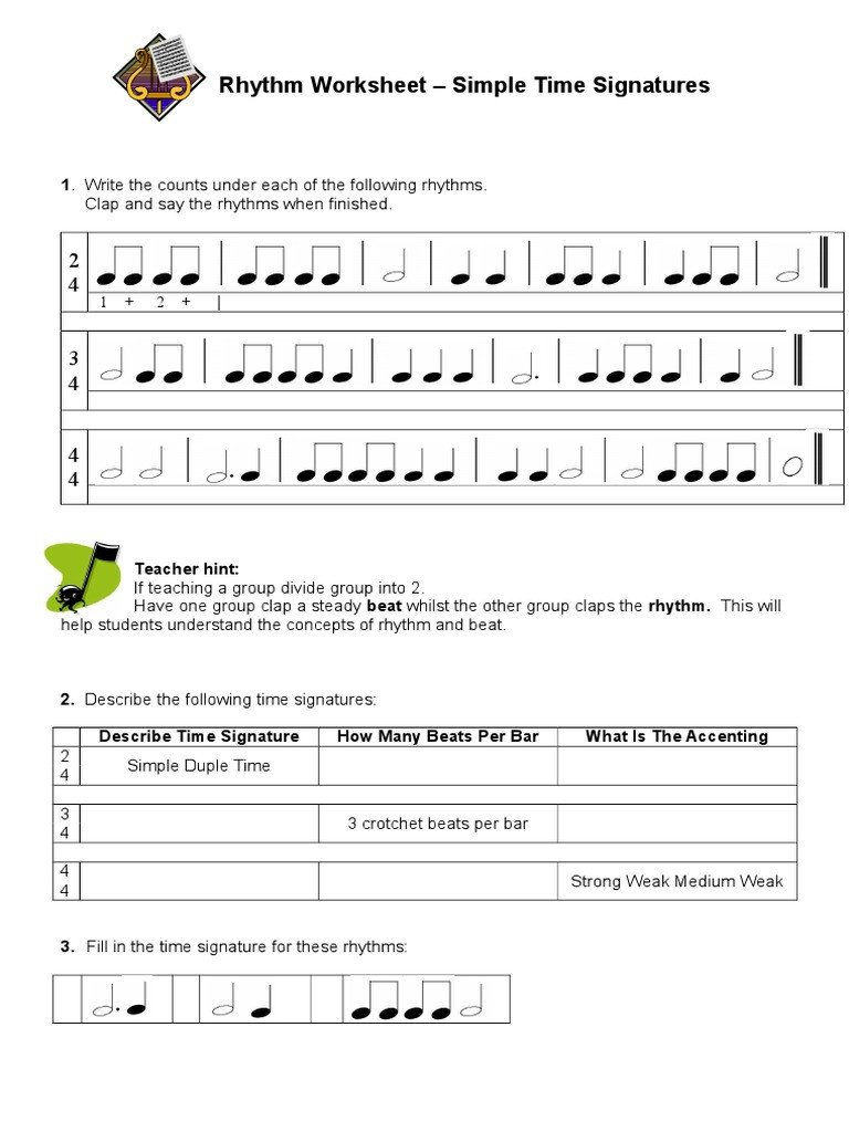 Rhythm Counting Worksheet Pdf Easy N Fun Rhythm Worksheet Rhythm