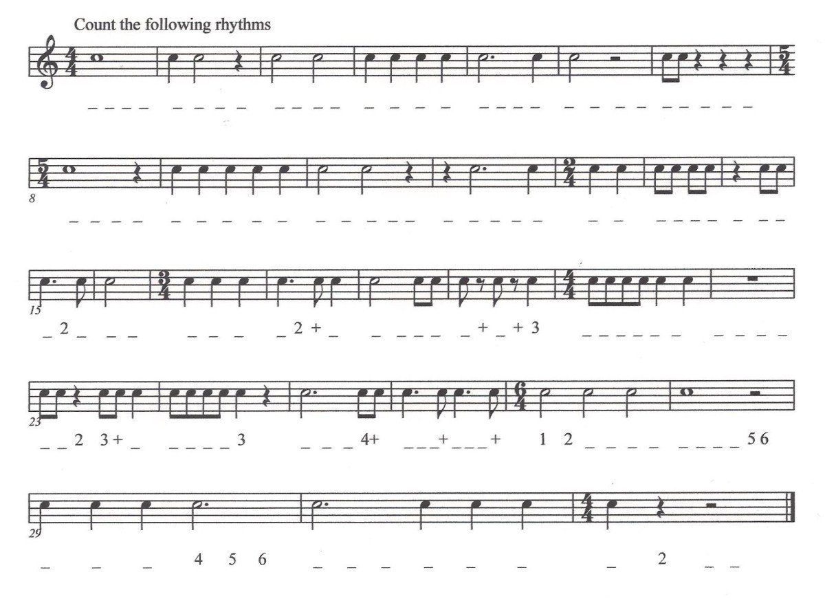 music theory worksheet 4 counting rhythms