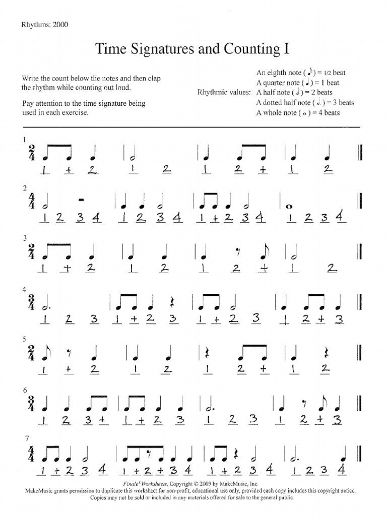 Rhythm Counting Worksheet Pdf Rhythms Pdf