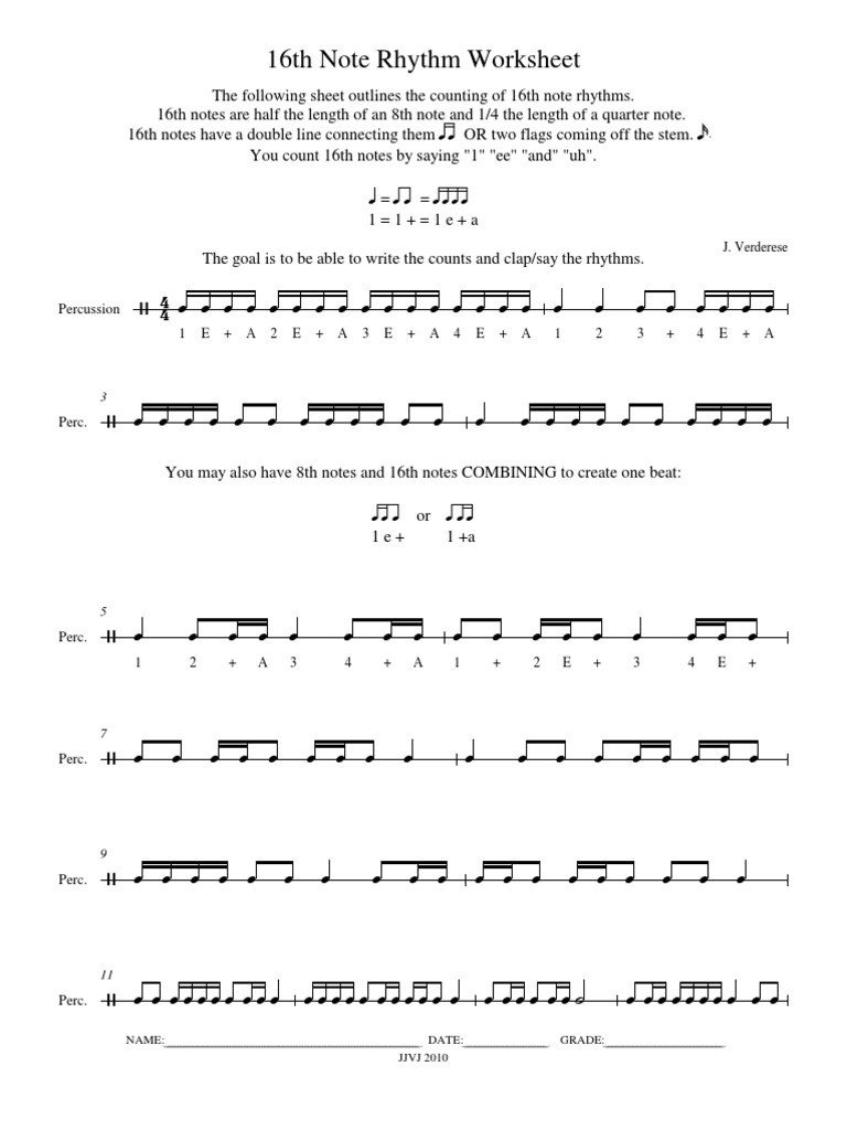 Rhythm Counting Worksheets 16th Note Rhythm Breakdown Musical Notation