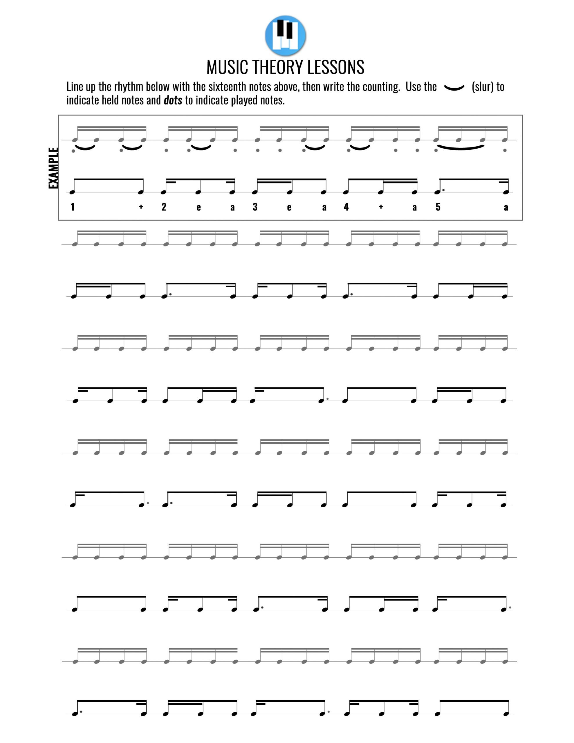 Rhythm Counting Worksheets Music theory Worksheets – Music theory Lessons