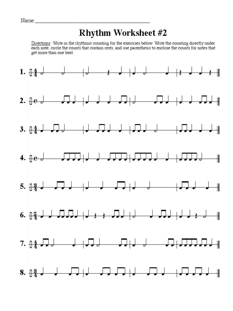 Rhythm Counting Worksheets Rhythm Worksheet 2