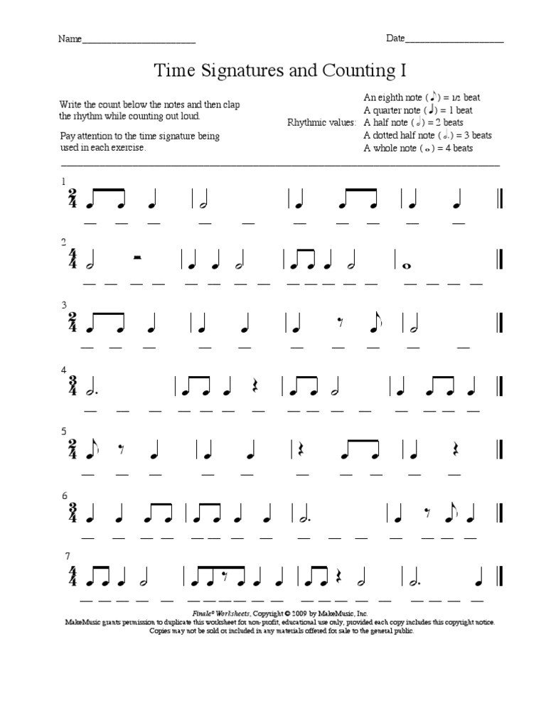 Rhythm Counting Worksheets Rhythms Time Signature and Counting Rhythm