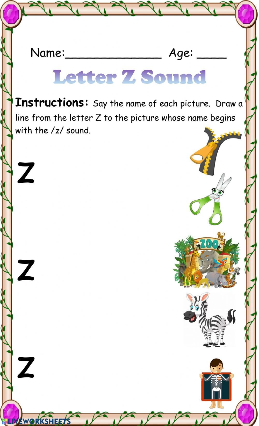 S and Z sounds Worksheets Letter Z sound Recognition Interactive Worksheet